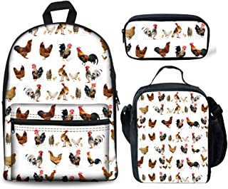 HUGS IDEA Chicken Printing Backpack Set Children School Bag Lunch Boxes Pencil Case for Kids