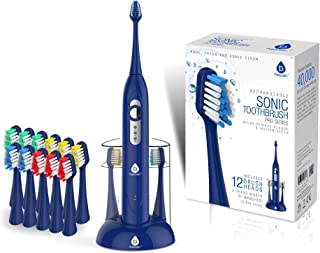 Pursonic S430 High Power Rechargeable Electric Sonic Toothbrush with 12 Brush Heads & Storage Charger, Blue