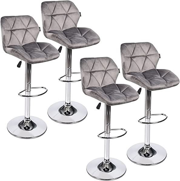 PULUOMIS 360 Degree Mordern Swivel Adjustable Barstool Fabric Flannel Padded Pub Chair Grey Flannel 4