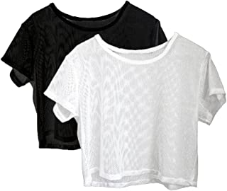 Baosity 2x Short Sleeve Lady Yoga Sports Fitness Mesh Sheer Tee Crop Tops Cover Up S
