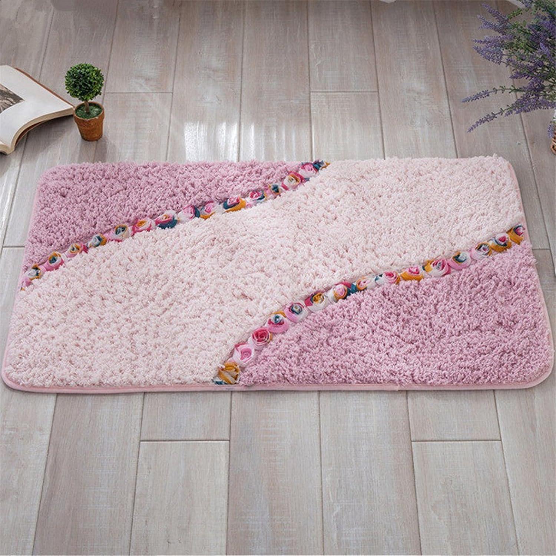 XIAOAI HOME Superfine Fiber pink Door mat Non-Slip Absorbent Kitchen mat Bathroom Rugs 15 x 23 inch Approx