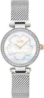 ساعة بمينا بيضاء من عرق اللؤلؤ وسوار بلونين من الستانلس ستيل للنساء من كوتش - 14503510