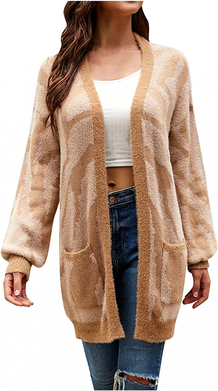 SUIQU Cardigan for Women, 2021 New Fall & Winter Long Sleeve Open Front Leopard Print Knitted Sweater Coat with Pockets