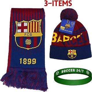 ada598526d5 Fc Barcelona Set Beanie Pom Pom Skull Cap Hat and Scarf Reversible Season