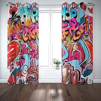 Amazon Com Capsceoll 52x84 Inch 2 Panels Wall Hip Hop Art Background Funky Urban Graffiti Street Grafitti Blackout Window Curtain Panels Kids Men For Bedroom Kitchen Living Room Kitchen Dining
