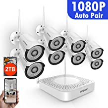 Full HD 1080P 8CH Wireless Security Camera System,SAFEVANT Wireless Camera System(2TB Hard Drive),8PCS 1080P(2.0MP) Indoors&Outdoors Wireless IP Cameras,NO Monthly Fee