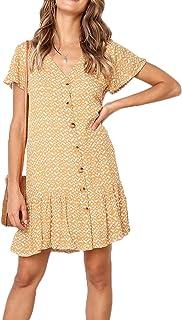 Ajpguot Verano Mujer Impresión Mini Vestidos de Playa Elegante Corto Dress de Partido Sundress V-Cuello Manga Corta Vestido con Boton