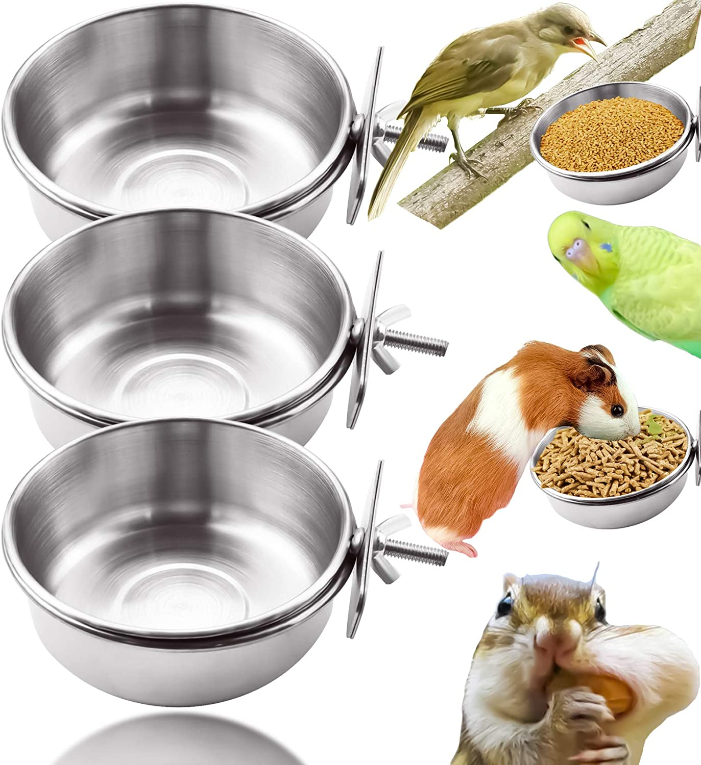 MotBach 3 Pieces Stainless Steel Bird Feeding Dish Cups, Bird Feeder Parrot Food Water Bowls with Clamp, Pet Cage Cups Holder for Bird Parrot Cockatiel Conure Budgies Parakeet Small Animal