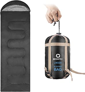 ECOOPRO Warm Weather Sleeping Bag - Portable, Waterproof, Compact Lightweight, Comfort with Compression Sack - Great for Outdoor Camping, Backpacking & Hiking-83 L x 30 W Fits Adults