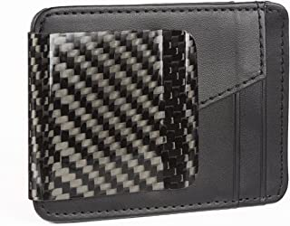 Black D15 Genuine Carbon Fiber Clip And Real Leather Wallet