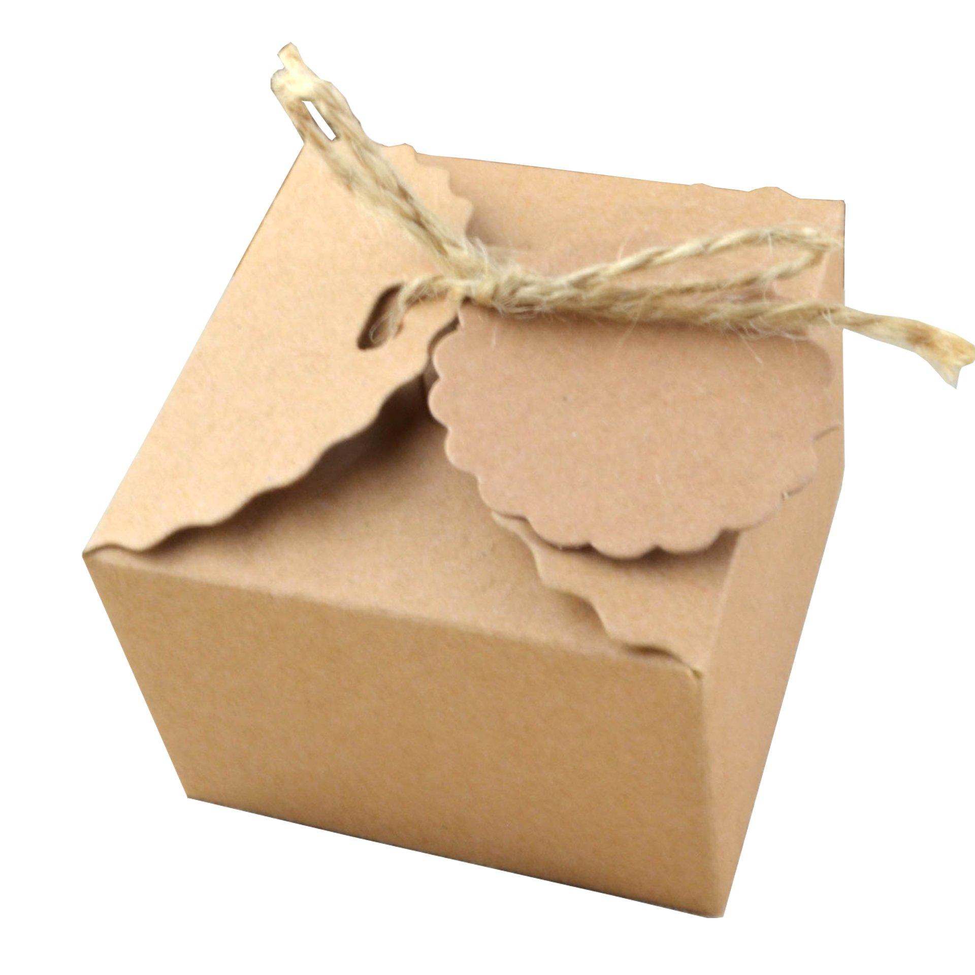 50 Piezas Papel Kraft Caja de Regalo Dulces Regalos Cajas Para el Presente del Banquete de Boda Embalaje Favor Regalo Dulces Marrón (Cuerda de yute): Amazon.es: Hogar