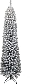 KING OF CHRISTMAS 7 Foot Prince Flock Pencil Slim Artificial Christmas Tree Unlit