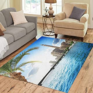 Semtomn Area Rug 2' X 3' Blue Egypt Cairo Tv Tower Bank of Nile River Home Decor Collection Floor Rugs Carpet for Living Room Bedroom Dining Room