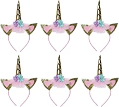 SIIYIX 6 Pack Unicorn Headbands Party Favors Supplies Birthday Decorations for Kids Girls Adults Fancy Dress Cosplay Decor