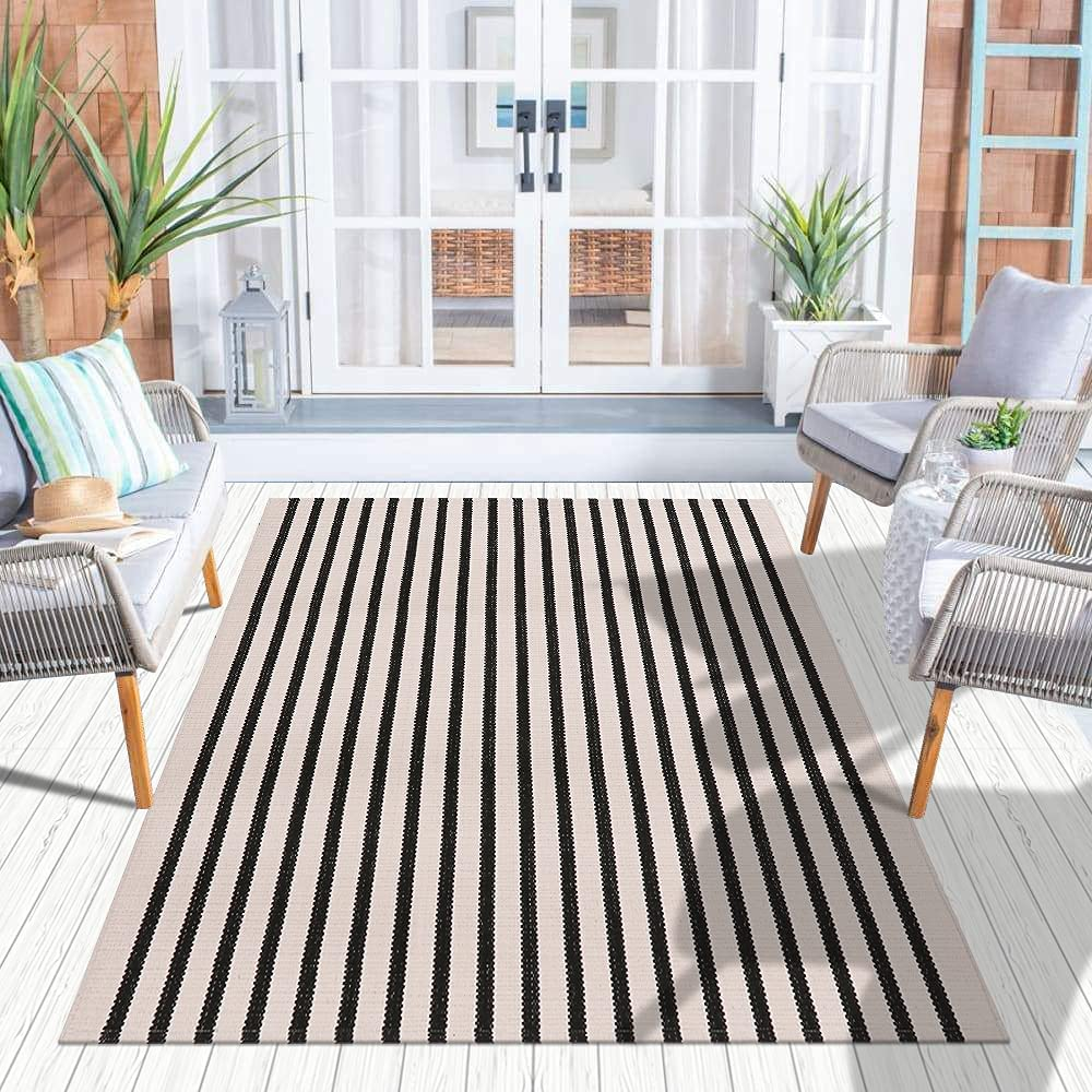 Popularity Ailsan Boho Stripe Outdoor Rug 3' x Cr and 5' Black Cotton Woven Atlanta Mall