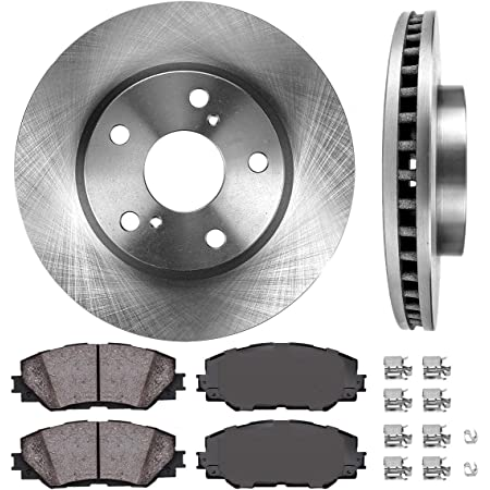 With Two Years Manufacturer Warranty Brake Pads Include Hardware Front Disc Brake Rotors and Ceramic Brake Pads for 2005 Toyota RAV4