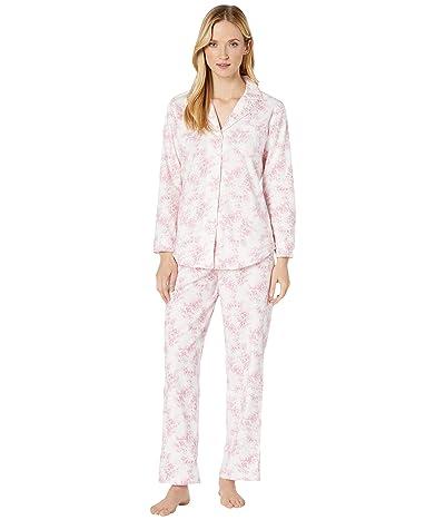 LAUREN Ralph Lauren Classic Wovens Long Sleeve Pointed Notch Collar Long Pants Pajama Set (Ivory Print) Women