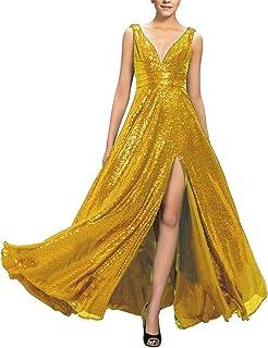 Awishwill Vestido Largo de Fiesta de Noche, Sexy, con Escote en V, sin Espalda, con Lentejuelas, para cóctel, para Mujer