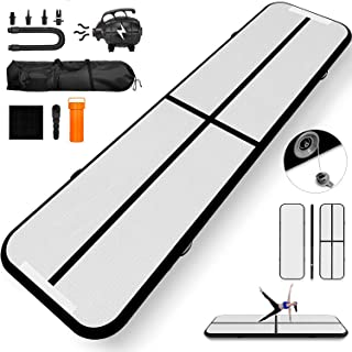 Happybuy 10ft 13ft 17ft 20ft 30ft Air Track 8 inches Airtrack 4 inches Air Track Tumbling Mat for Gymnastics Martial Arts Cheerleading Tumble Track with Pump