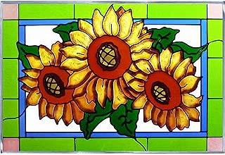 Sunflower Trio Art Glass Panel Wall Window Hanging Suncatcher 14 x 20