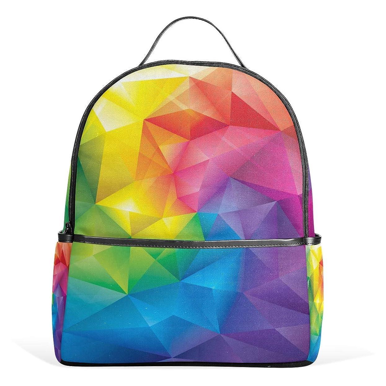 適用するナビゲーションエラーVAMIX リュックサック バッグ 男女兼用 メンズ レディース 通勤 通学 大容量 プレゼント ギフト 幾何学 虹色