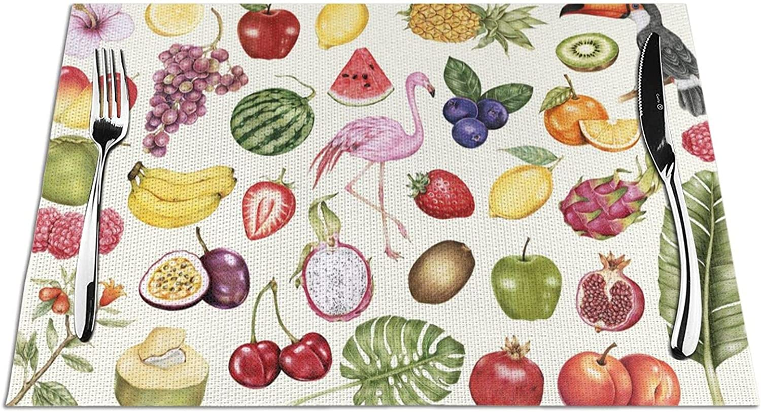 Woven Placemat Tropical Fruits and Dining Dealing full price reduction Placemats Max 68% OFF for Animals