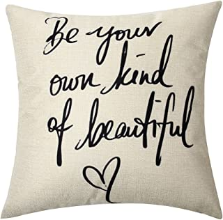 Ogiselestyle Be Your Own Kind of Beautiful Cotton Linen Home Decorative Throw Pillow Case Cushion Cover for Sofa Couch, 18