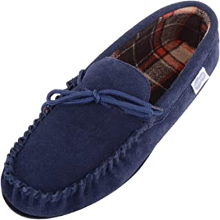 SNUGRUGS George Mens Suede Moccasin with Checked Cotton Inner and Rubber Sole