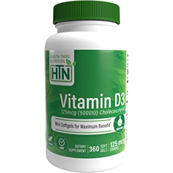 Health Thru Nutrition ビタミン D3 5000 Iu、Gmoなし、360 ミニ ソフトジェル、大豆なし、Uspグレード 天然 ビタミンD