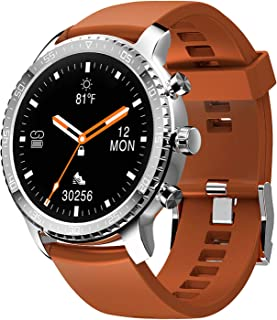 Tinwoo Smart Watch for Android/iOS Phones, Support Wireless Charging,Bluetooth Health Tracker with Heart Rate Monitor, Digital Smartwatch for Women Men, 5ATM Waterproof (Silver Band Brown)