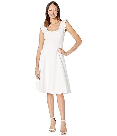 Calvin Klein Ruffle Arm A-Line Dress (White) Women