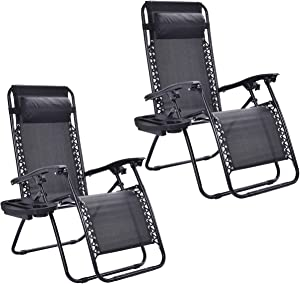 HAPPYGRILL 2pcs Chairs Set, Relaxing Lounge Patio Folding Recliner Outdoor Yard Beach with Cup Holder, Black