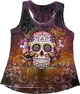 Sugar Skull Shirts for Women   V Neck T Shirt Tee   Beautiful Print Decorated with Rhinestones