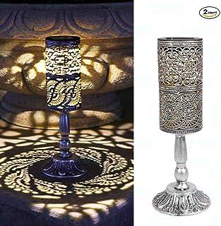 2 piezas de luces solares retro candelabro Lámpara de mesa