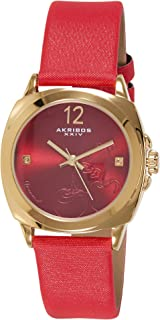Akribos Xxiv Dress Watch Analog Display Japanese Quartz For Women Ak902Rd, Red Band, Genuine-Leather Strap