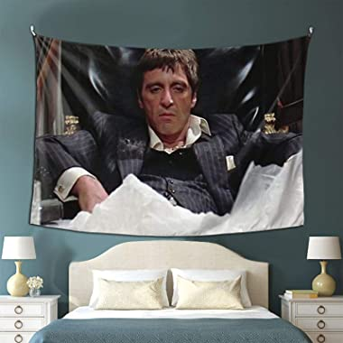 Tony Montana Scarface Movie Al Pacino Coke Mountain White Dope Bored Boring Sit Tapestry Boutique Wall Tapestry Aesthetic Hom