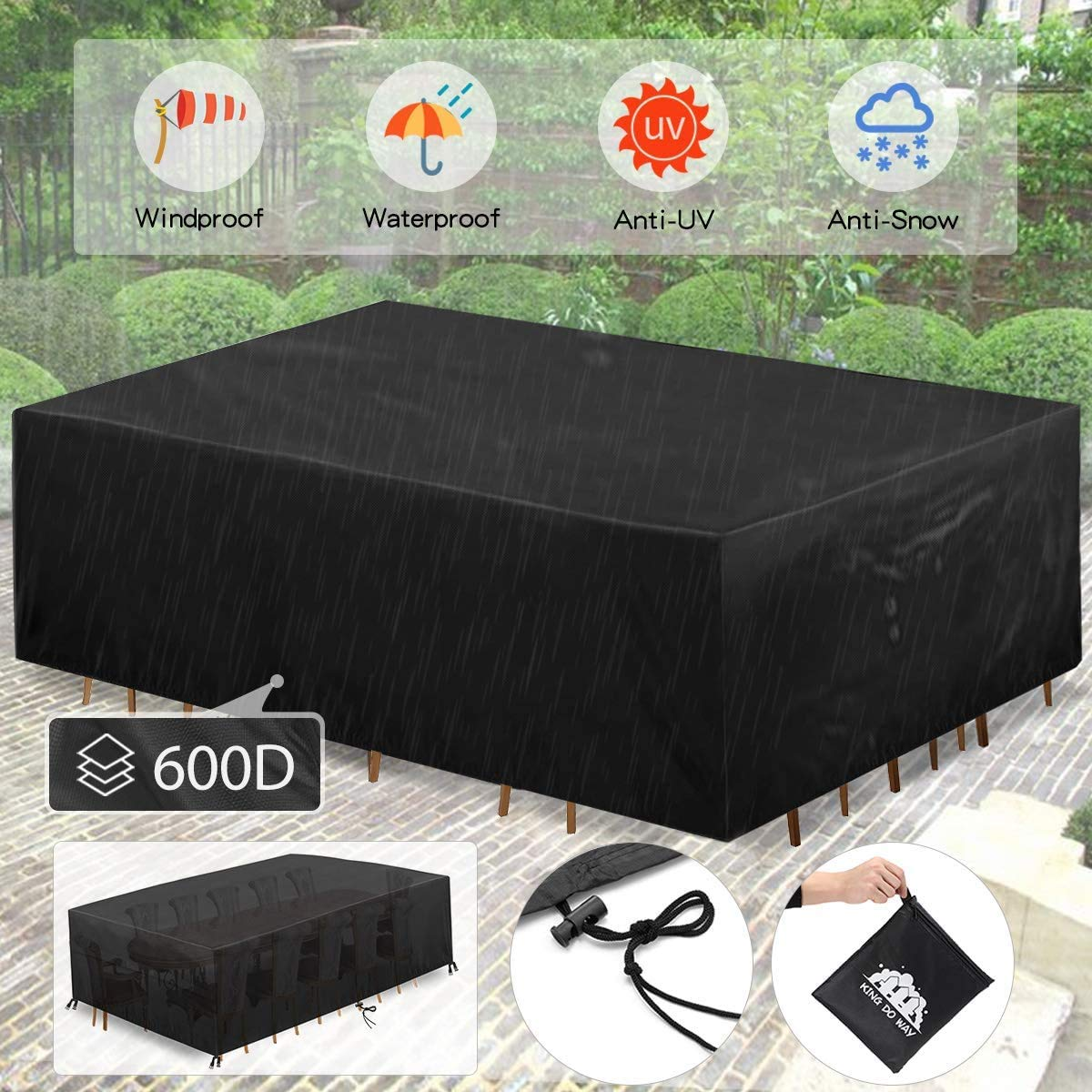 """king do way Patio Furniture Covers 124""""X70""""X29"""" Extra Large Patio Table Covers Rectangular Covers with 4 Windproof Buckles..."""
