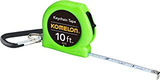 """Komelon 4110CS Keychain Tape Measure Acrylic Coated Steel Blade 10' by 1/4"""", color may vary"""