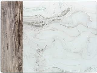 Creative Tops C000321 - Protector de cristal para encimera, diseño de mármol blanco y madera, color blanco