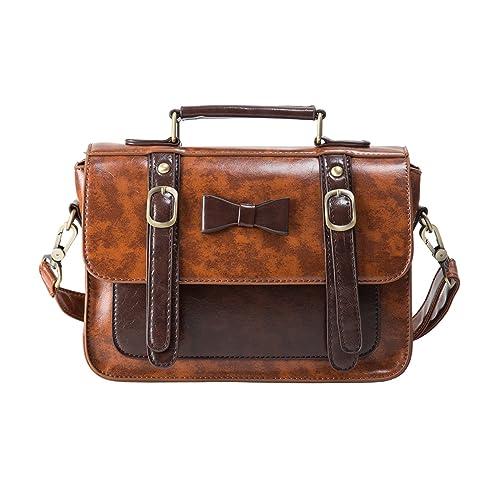 1eb8323077 ECOSUSI Faux Leather Vintage Small Messenger Purse School Satchel Bag