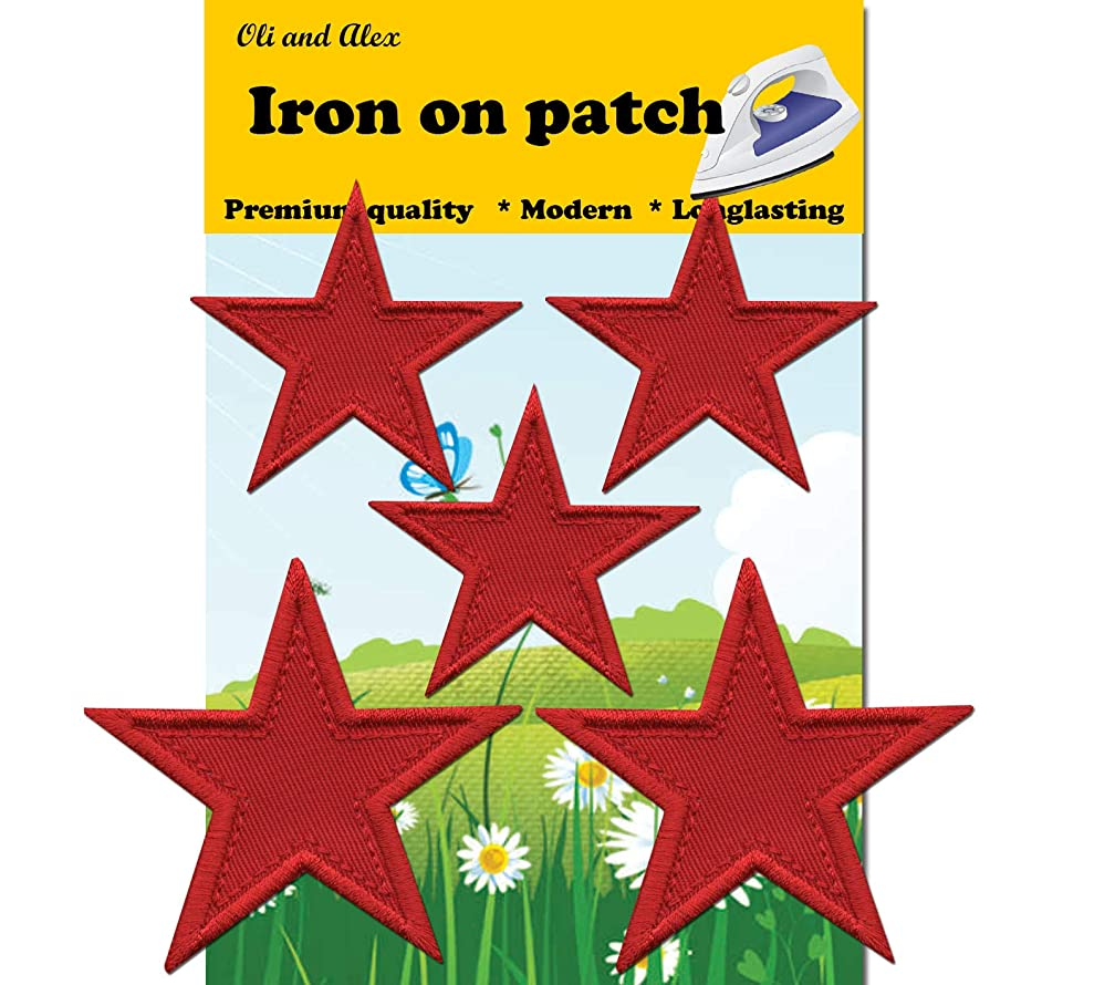 Iron On Patches - Red Star Patch 5 pcs Iron On Patch Embroidered Applique A-169