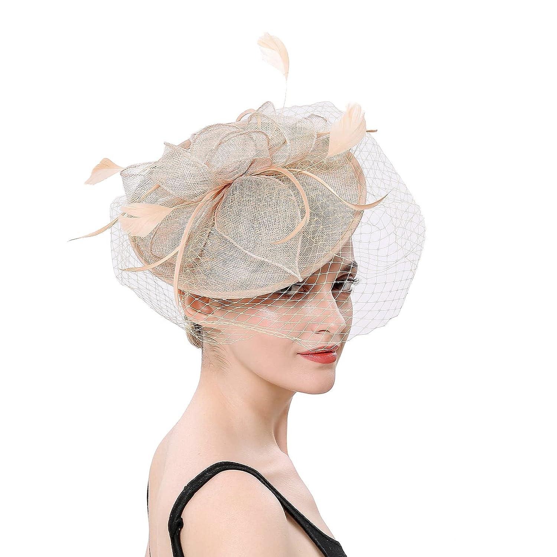Charming Women Girls Flower Mesh Fascinators Hat Cocktail Party Headband Headpiece Wedding Hat Elegant (Beige)