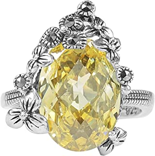 Aura 925 Sterling Silver Ring Canary Cz, Marcasite #7