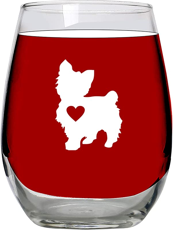 Yorkie Gifts Wine Glass Stemless Large 15oz Unique Gift Idea For Yorkshire Terrier Lovers Women Dogs