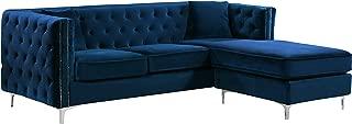 Meridian Furniture 2 Piece Jesse Velvet Sectional, 90