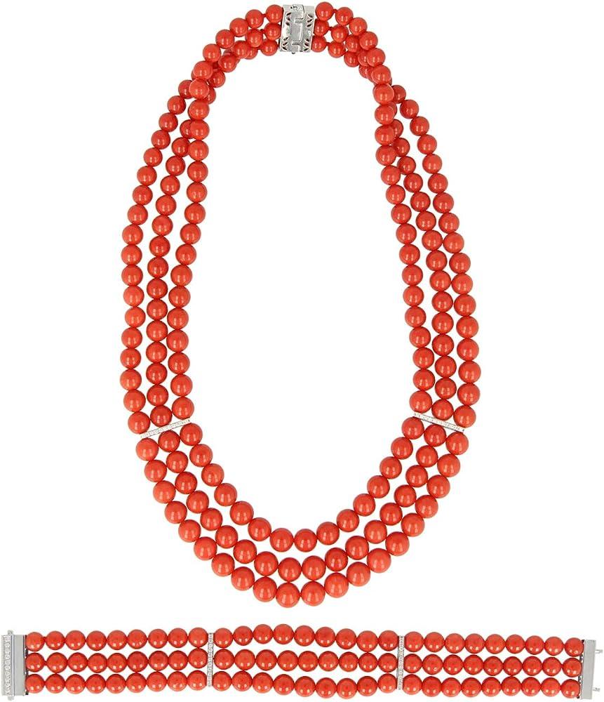 Gioiello italiano - parure in corallo rosso oro bianco 18kt e diamanti, da donna, collana e bracciale B08537Y8G5