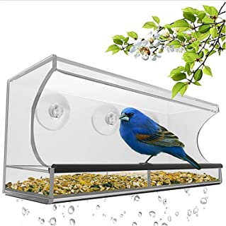 Comedero Para Pájaros Bandeja alimentador de pájaros montado en la pared dispositivo de alimentación de mascotas acrílico ...