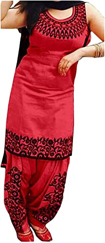 Women S Cotton Silk Embroidery Salwar Suit Dupatta Material Red Free Size