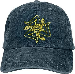 Flag of Sicily Medusa Trinacria Sicilian Mens Cotton Adjustable Washed Twill Baseball Cap Hat