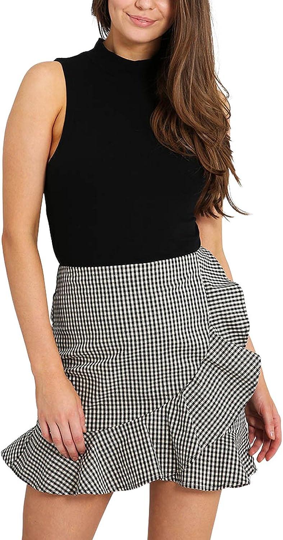 Just quella Plaid Skirt Women's High Waist Gingham Bodycon Mini Wrap Skirt